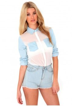 Taiba Denim Contrast Blouse - tops - blouses - missguided