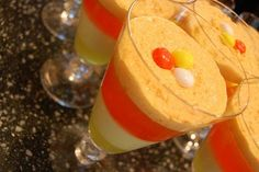 M's White Chocolate Candy Corn parfaits