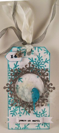Suzz's Stamping Spot, Day 14, Turquoise & Silver, Memory Box, Peace on Earth, Christmas Tag, DarkRoom Door