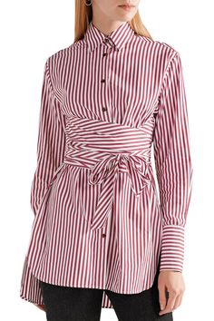 4da7bdb9 Bianca tie-front striped cotton-poplin shirt | KHAITE | Sale up to 70% off