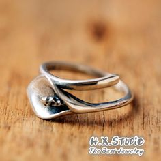 Handemade 3D Silver Calla Lily Ring, Calla Lily Wrap Ring, Birthday, Valentine, Wedding, Anniversary Gift