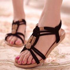 Women Sandals Women Shoes 2017 Summer Fashion Shoes Woman Ankle Strap Flats Ladies Shoes Hot Sandalias Mujer Black