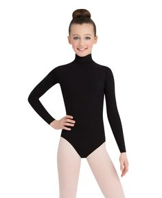 Capezio Turtleneck Leotard with Discreet Snaps - Child/Girls, Long sleeves will keep the dancer warm on cold studio days, A modest turtleneck and zippered The DanceWear Shoppe Turtleneck Style, Black Turtleneck, Long Sleeve Turtleneck, Turtleneck Bodysuit, Snap Girls, Pullover Shirt, Long Sleeve Leotard, Dance Leotards, Dance Outfits