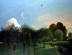 'The Orchard (at Coombe Valley)' by David Inshaw, 1976 (oil on canvas) Green Landscape, Landscape Art, Landscape Paintings, Tate Gallery, Fairytale Art, Weird Pictures, Modern Landscaping, Contemporary Landscape, Cool Landscapes