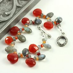 Red and Grey Gemstone Bracelet