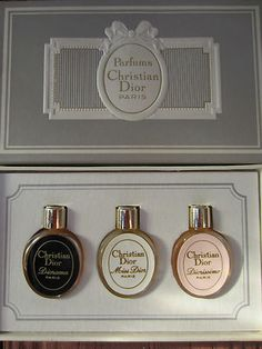 "Vintage Christian Dior Mini Bottle Set ""Miss Dior"", ""Diorama"", ""Diorissimo"" Parfums 