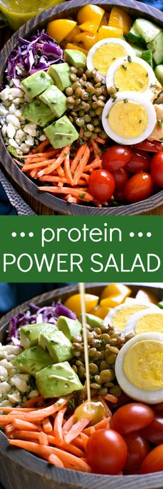 This Protein Power Salad is loaded with veggies and protein and packed with amazing flavor. Perfect for lunch or dinner, this is one salad that is sure to satisfy you all day long!