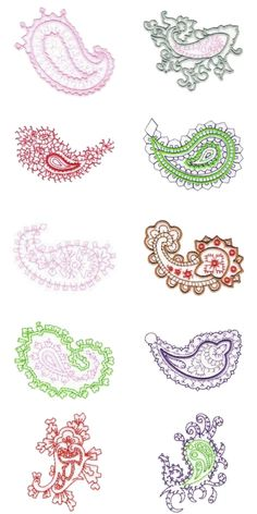 10 set Paisley Embroidery Design