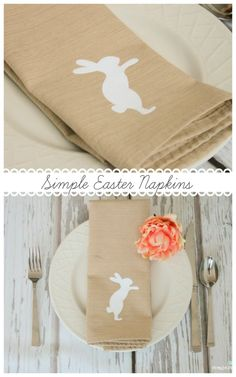 Create these Simple Easter Napkins for your Easter brunch tablescape or as a decorative dish rag to hang on your stove. Easter Brunch, Easter Party, Hoppy Easter, Easter Eggs, Easter Crafts, Easter Decor, Easter Celebration, Easter Table, Holiday Activities