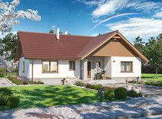 Projekt domu parterowego Tracja 3 o pow. 117,19 m2 z dachem dwuspadowym, z tarasem, sprawdź! Home Fashion, House Plans, Sweet Home, Cabin, House Styles, Interior, Home Decor, Mango, Model