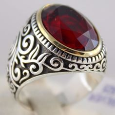 Turkish Ottoman Jewelry Handmade 925 Sterling Silver Ruby Statement Men Ring #Handmade #Statement