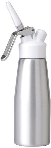 BergHOFF Cream Whipper by BergHOFF. $58.42. Includes 3-piece decorators and cleaning brush. Aluminum body with a satin finish, with a durable 18/10 stainless steel handle. Filled with cream and fitted with an N2O charger (sold separately), this restaurant-style canister instantly dispenses clouds of whipped cream for topping desserts and drinks with the push of a button. Add sweeteners and flavorings as you please. Cream Whipper.. Save 42%!
