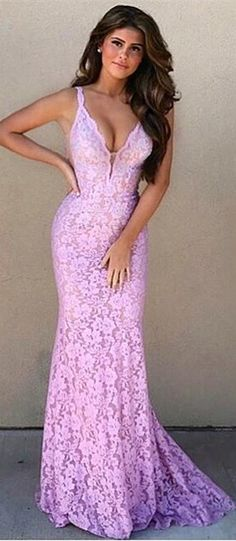 elegant pink lace mermaid long prom dress evening dress wedding party dress