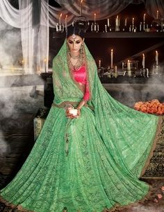 Green Jacquard Saree With Resham Work