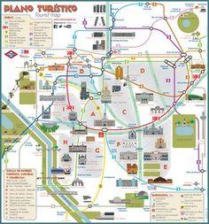 Plano turistico de museos, lugares, atracciones, sitios y monumentos de Madrid
