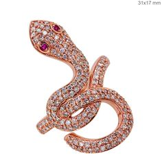Solid 18k Rose Gold Gemstone Ruby Snake Ring Pave Diamond Vintage Look Jewelry 7…