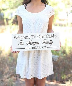 Look at this #zulilyfind! 'Welcome to Our Cabin' Personalized Family Wall Sign #zulilyfinds $24.99