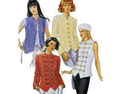 Womens Military Waistcoat Jacket Pattern McCalls 7669 Size 8 10 12 Misses Band Jacket & Military Steampunk Coat Pattern UNCUT
