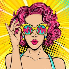 Similar Images, Stock Photos & Vectors of Wow pop art face. Sexy surprised woman with blonde curly hair and open mouth holding binoculars in her hands with inscription wow in reflection.Vector colorful background in pop art retro comic style. Bd Pop Art, Pop Art Face, Pop Art Girl, Pop Art Design, Arte Inspo, Kunst Inspo, Retro Kunst, Retro Art, Vintage Pop Art