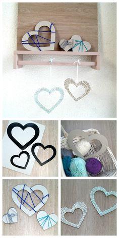 Herzen mit Garn umwickeln - Kinder basteln ein schönes Geschenk für Valentinstag.   von Fantasiewerk