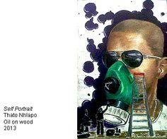 Thato Nhlapo, Self Portrait - oil on wood-- Bag Factory Artists' Studios - Johannesburg, South Africa South African Artists, Studios, Oil, Portrait, Bags, Painting, Handbags, Headshot Photography, Painting Art