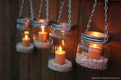 Is anyone else pretending that it's almost summer? These mason jar hanging lanterns would be a fun addition to your next outdoor gathering.