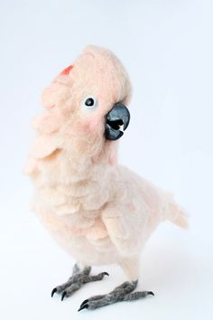 Needle Felted Moluccan Cockatoo Commission for by YvonnesWorkshop