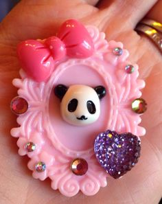 Pink panda bear fridge magnet.    **$1 from every sale goes to benefit the V animal sanctuary of Las Vegas.**