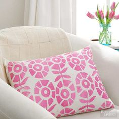 Stamped Pillow. Love the design! Home Decorating Ideas: Easy One-Day Decorating Projects