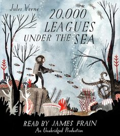 Gorgeous cover art for an audiobook version of Jules Verne's 20,000 Leagues Under the Sea by illustratorCarson Ellis, the loveliest Verne-related artwork since these 1964 illustrations by Peter P. Placencia.