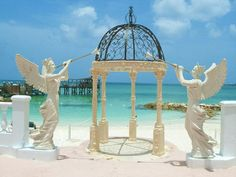 Perfect beach front location, allow the angels to watch over you as you exchange your nuptials at Sandals Royal Bahamian, Bahamas.