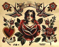 True Love Tattoo Flash, Sweetheart Tattoo Flash, Swallow Tattoo Flash, Rose Tattoo, Spider Murphy's Tattoo Flash tattoo for men tattoos tattoo tattoo japones tattoo tattoo traditional Traditional Swallow Tattoo, Traditional Tattoo Old School, Traditional Rose Tattoos, Traditional Roses, Traditional Tattoo Design, Traditional Tattoo Flash, Flash Art Tattoos, Tattoos Skull, Dragon Tattoos