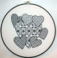 OK - Hearts - template - fill with own patterns - Blackwork pattern for you to try! Motifs Blackwork, Blackwork Cross Stitch, Blackwork Embroidery, Cross Stitching, Cross Stitch Embroidery, Embroidery Hearts, Embroidery Patterns, Hand Embroidery, Cross Stitch Designs