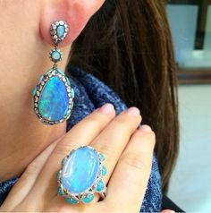 Obsessed with opal? This extravagant opal and diamond combination is breath taking! Discover our luxurious Diamond Salon and more London Collection at London Jewelers. #londonjewelers #americana #londoncollection #opal #diamonds #earrings #ring #luxury #wheatleyplaza #glencove #easthampton #southhampton #style #trendy #instadaily