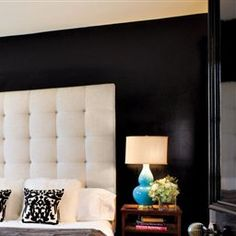 headboard with black accent wall... Beautiful