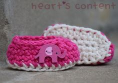 Adorable Pink Newborn Baby Booties adorned by HeartsContentByCat Newborn Crochet, Crochet Baby Booties, Preemie Babies, Cotton Crochet, Knit Crochet, Cute Babies, Baby Gifts, Hot Pink, Baby Shoes