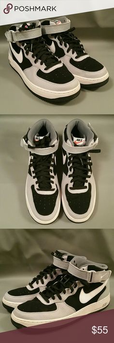 Men's Nike Air Force 1 Mid Sneakers 07 10.5 US -BLACK/WOLF GREY/COOL GREY/WHITE  -315123-024 -2014 -Made in Vietnam Nike Shoes Sneakers