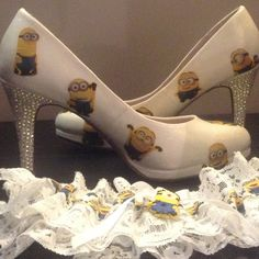 Still loving my minion wedding bits #minions #minionlove #wedding #weddingday #june #love #bride #groom #garter #shoes