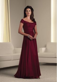 Chiffon Off-the-Shoulder A-line Long Mother Of The Bride Dress - Mother of the bride - WHITEAZALEA.com