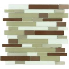 Mahogany Brown Random Bricks Glass and Metal Glossy & Frosted Tile