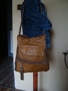 Recycled leather handbag with leather tassel by BagsBand on Etsy