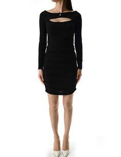 (WL01542-BLACK) Womens Slim Fit Boat Neck Open Chest Long Sleeve Mini Dress