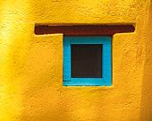 Turquoise window, yellow wall, in Mexico, photograph sunflower, blue santa fe ravishing southwestern style abstract Latin America San Miguel