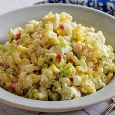 Paula Deen's Macaroni Salad recipe from Food Network screams summer picnic, with crunchy vegetables and hard-boiled eggs folded into each creamy bite. Summer Macaroni Salad, Tuna Macaroni Salad, Summer Salad, Southern Macaroni Salad, Macaroni Pasta, Tuna Pasta, Pasta Recipes, Salad Recipes, Cooking Recipes