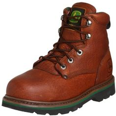 $77, Tan Leather Boots: John Deere Jd6393 Boot. Sold by Amazon.com. Click for more info: http://lookastic.com/men/shop_items/14508/redirect