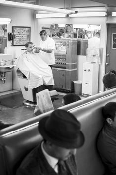 """Sweeney Todd's Barbershop - Los Angeles, CA. This image was made in but there isn't much about it that says it couldn't have been made 40 years ago. From my book """"Barbershops of America"""". Sweeney Todd, Barbershop, Haircuts For Men, 40 Years, Black Men, My Books, Salons, Hair Cuts, Hairstyle"""