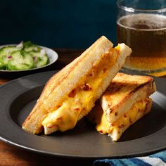 A Southern twist on the classic grilled cheese. Making you own pimiento cheese is easy and can be done ahead. Recipe: Pimiento Grilled Cheese    - TownandCountryMag.com