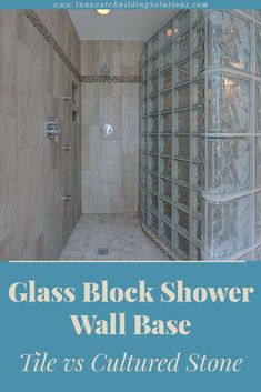 If you are looking for a stylish shower pan which oozes character, which one would be better? A tile or solid surface shower base? Find out the answer in this article! | Innovate Building Solutions | #CustomShower #TileShower #ShowerBase #CustomShowerPan | Glass Block Wall | Shower Pan | Solid Surface Pan Glass Blocks Wall, Block Wall, Custom Shower Base, Glass Block Shower, Bathroom Remodeling Contractors, Tub Enclosures, Glass Showers, Shower Pan, Contemporary Homes