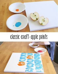 A way to bring health to arts & crafts time with your kids - Apple Prints! via :: Modern Parents Messy Kids Kids Crafts, Summer Crafts, Crafts To Do, Projects For Kids, Diy For Kids, Craft Projects, Arts And Crafts, Craft Ideas, Diy Ideas