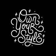 Own Your Style - Black and white monoline script hand lettering Mini Art Print by esztersletters Hand Lettering Art, Types Of Lettering, Script Lettering, Brush Lettering, Lettering Design, Lettering Ideas, Lettering Styles, Script Type, Calligraphy Fonts